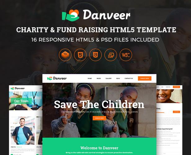 Danveer | Charity, Fund Raising, Nonprofit, NGO Responsive HTML5 Template